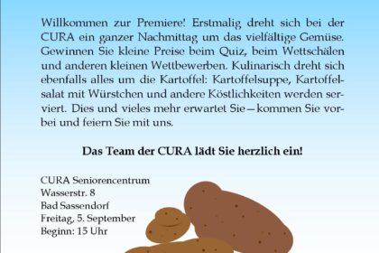 """""""Alles Tolle um die Knolle – der CURA Kartoffeltag"""" am Freitag, 5.9.2014"""