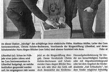 900 Euro für Kalis Werkstatt, Spendenübergabe an Bürgerstiftung Lilienthal