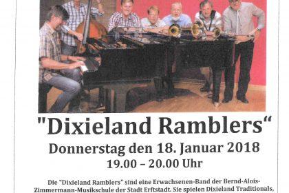 "Konzertankündigung der ""Dixieland Ramblers"""