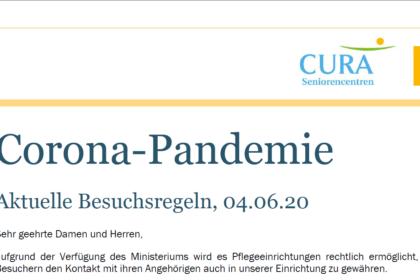 Corona-Pandemie: Aktuelle Besuchsregeln, 04.06.20