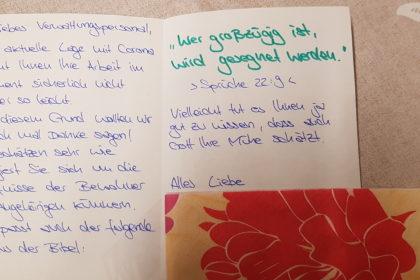 Dankeskarten für die Verwaltungsmitarbeiter im Angelika-Stift